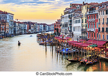View of famous Grand Canal at sunset