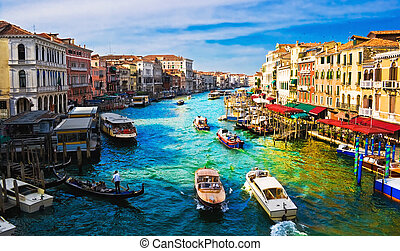 Grand Canal - View of famous Grand Canal from Rialto bridge,...
