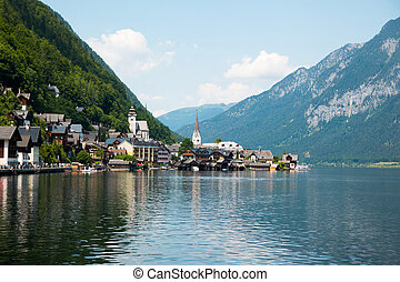 View of famous Hallstatt Lakeside Town in the Alps