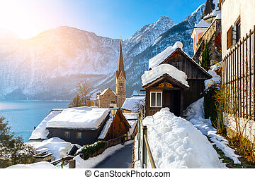 View of famous Hallstatt lakeside town in the Alps. Village in Austria