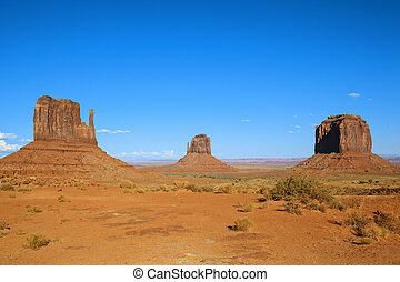 Monument Valley with blue sky