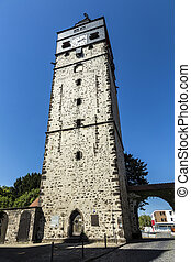 view of famous old town tower of Lich