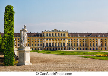 view of famous Schonbrunn Palace  in Vienna, Austria