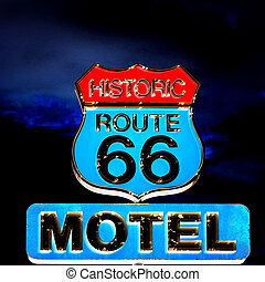 Route 66 at night - view of famous sign on Route 66 at...