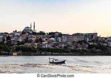 view of Fatih quarter in Istanbul city in evening