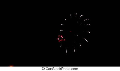 View of fireworks,holiday gold glittering sparkle fireworks...