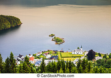 View of fjord near Bergen in Norway