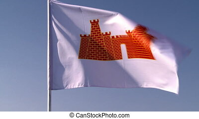 View of flag fluttering in wind. Russia, Mozhaisk