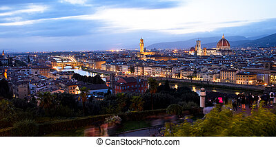 View of Florence at night in the autumn.