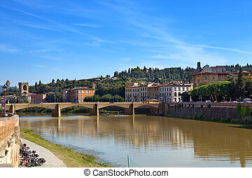 View of Florence. Bridge over the Arno River