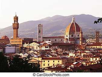 View of Florence from the Bardini garden at sunset