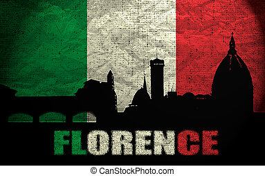 View of Florence on the Grunge Italian Flag