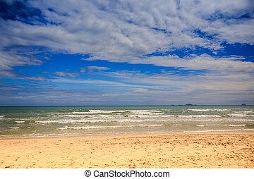 View of Foamy Wave Surf on Sand Beach Blue Sky