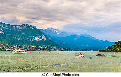 View of French Alps over Lake Annecy