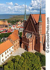 View of Frombork Cathedral a place where he worked Copernicus. Poland