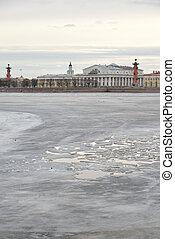 View of Frozen Neva River and Spit of Vasilyevsky Island.