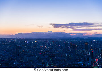 View of Fuji Mountain in the twilight view from top of building