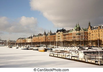 View of Gamla Stan (old town) from across the frozen harbor