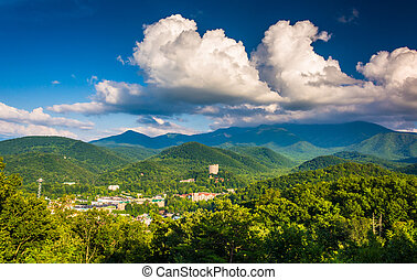 View of Gatlinburg, seen from Foothills Parkway in Great...