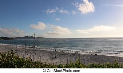 View of Gibson Beach from the shore in Carmel, California.