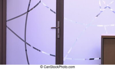 View of glass door in office building
