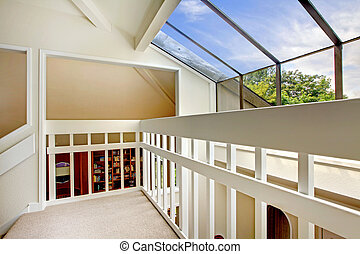 View of glass wall from loft