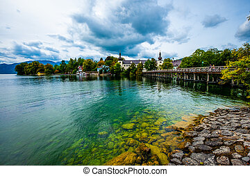 View of Gmunden wide Traunsee lake