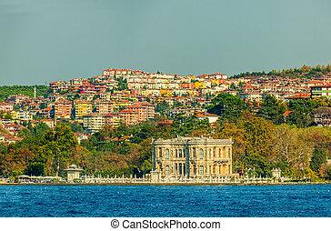 View of Goksu Pavilion, old houses and mansions sailing Bosphorus