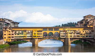View of Gold (Ponte Vecchio) Bridge in Florence, timelapse