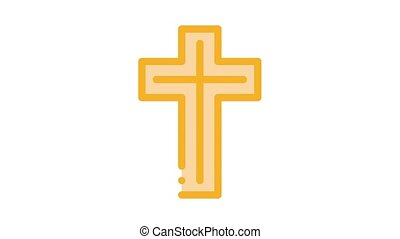 view of golden cross Icon Animation. color view of golden cross animated icon on white background