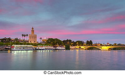 View of Golden Tower, Torre del Oro, of Seville, Andalusia, Spain