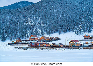 View of Goloustnoye Village at Lake Baikal