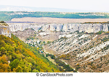 view of gorge ashlama-dere in Crimean mountains in autumn