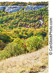 view of gorge mariam-dere in Crimean mountains in autumn