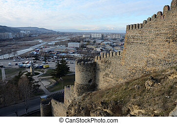 View of Gori city from Goristsikhe fortress, Georgia, Caucasus. It was important military stronghold in Middle Ages