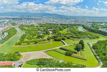 View of Goryokaku Park, where is a star fort in Hakodate, Hokkaido, Japan.
