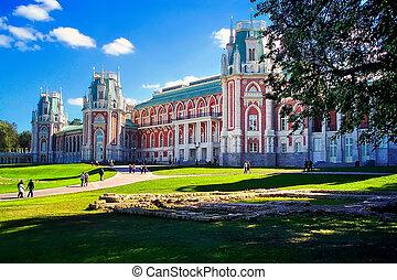 View of Grand Tsaritsyno Palace summer sunny day