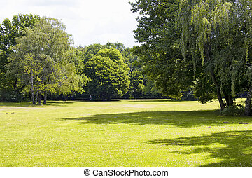View of grass field and trees at Tiergarten in Berlin. The largest & oldest park, including family amenities, walking paths & a victory column.