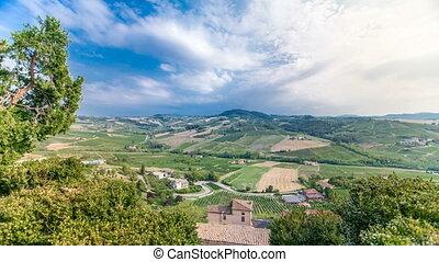 view of green summer valley of italian coyntryside timelapse...