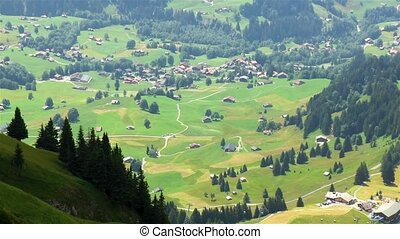 High angle view of Grindelwald, a village in the Switzerland's Bernese Alps.