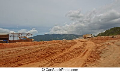 View of Ground Road Building Site Machines Equipment