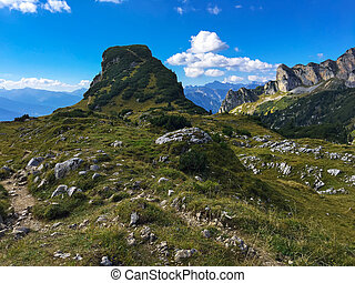View of Gschoellkopf mountain peak at Rofan, Brandenberg Alpine pasture in Tyrol, Austria