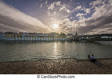 View of Guadalquivir river and Triana district in Sevilla, Andalusia, Spain