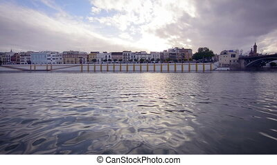 View of Guadalquivir river and Triana district in Sevilla, Andalusia, Spain.
