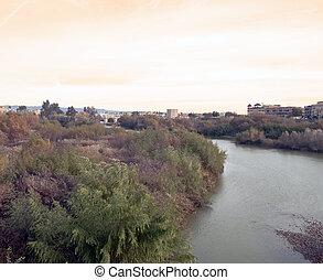 Guadalquivir river - View of Guadalquivir river with a ...
