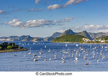 Guanabara bay and Botafogo cove - View of Guanabara bay and...