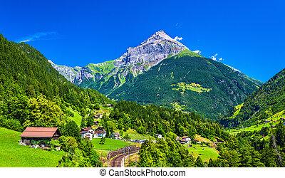 View of Gurtnellen, a village in Swiss Alps