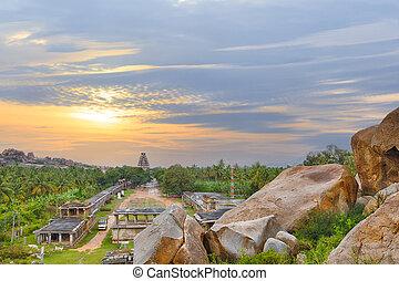 View of Hampi ancient hindu city