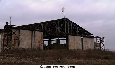 View of hangar for airplanes, close-up - View of hangar for...