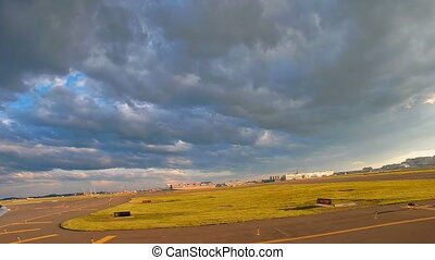 View of harbor and Logan international airport in Boston,...